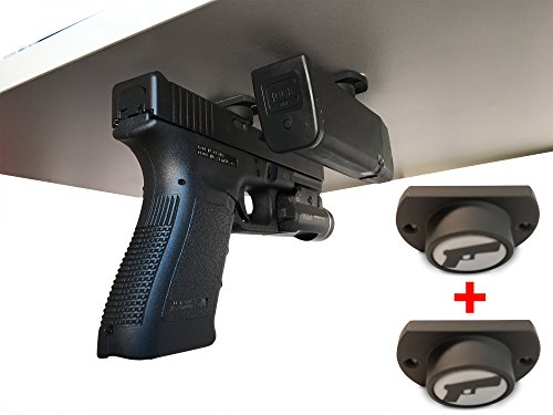 2-Pack | Gun Magnet w/ Adhesive Backing | Car Holster | Bedside Holster | Steering Wheel Gun Holster | Under The Desk Pistol Holster | Gun Holsters For Cars | Vehicle Gun Mount | Pistol Holster In Car (Best 1911 Extended Mag Release)