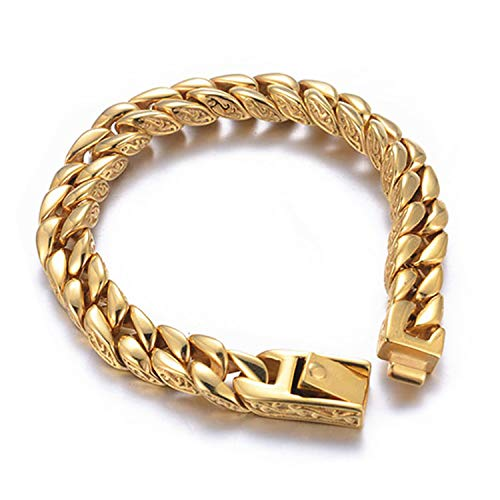(24K Gold Layered Chain Bracelet for Men 14MM Premium Fashion Jewelry, Resists Tarnishing, US Made)