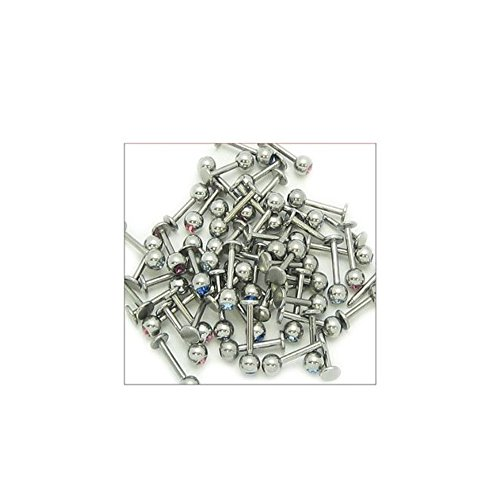 Lot of 20 Labret Lip Rings 14g 5/16 and 3/8 with 5mm Jewel