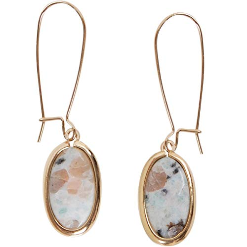 Humble Chic Created Gemstone Dangles - Threader Statement Dangling Gold-Tone Drop Earrings for Women, Oval Created Kiwi-Jasper, Sesame, Green, Brown, Tan, White, Cream, Black Spot, Gold-Tone