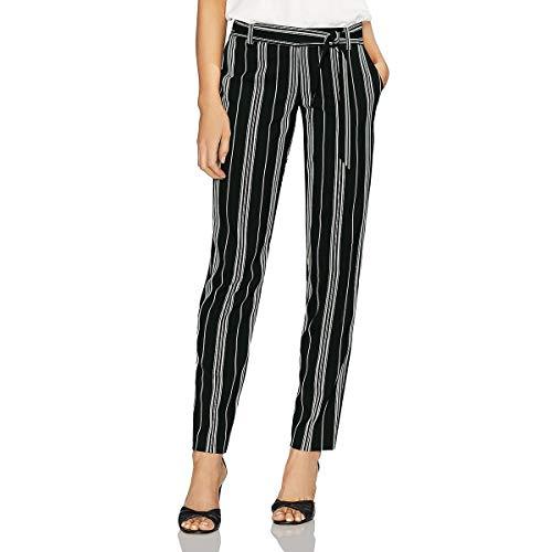 Vince Camuto Womens Black Stripe Paperbag Waist Belted Pants Rich Black 10