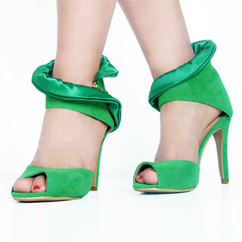 Kolnoo Femmes Suede D'Orsay Peep-Toe d'été à Talons Hauts Prom Party Sandales Chaussures Green nUJNNl95bf