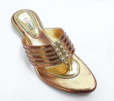 LEMEX Copper Thong Slipper For Women