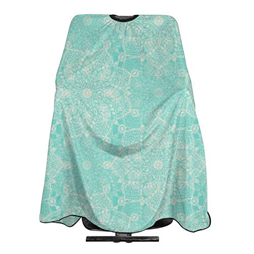 Cream Doodle Medallions On Tiffany Blue Haircut Hairdressing Cape Cloth Apron Hair Styling Hairdresser Cape Family Barber ()