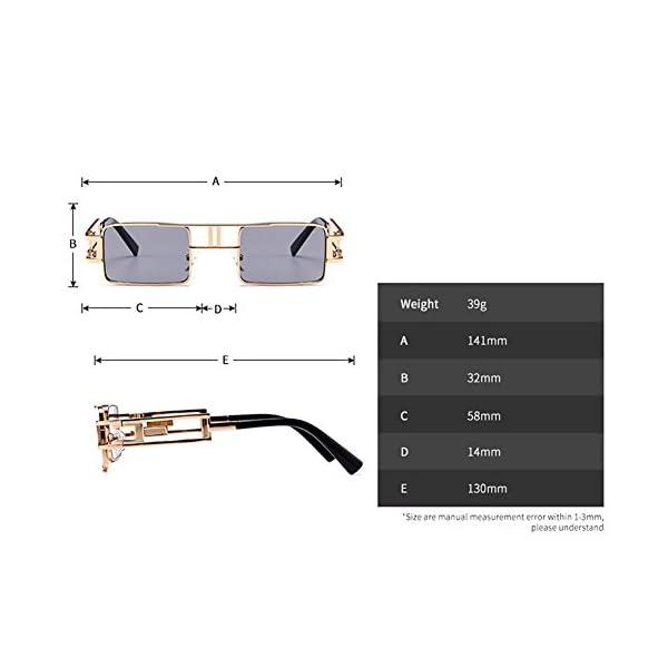 Steampunk Rectangular Sunglasses Men Gold Black Red Flat Top Square Sun Glasses 5