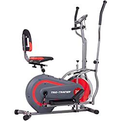 Body Power Trio Trainer Machine 3 in 1 Elliptical Trainer Upright Bike and Recumbent Bike with Weighted Chrome Wheel BRT5118