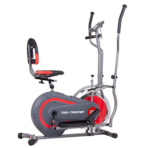 Body Power Trio Trainer Machine 3 in 1 Elliptical Trainer Upright Bike and Recumbent Bike with Weighted Chrome Wheel BRT5118 (Best Shoes For Moving Furniture)