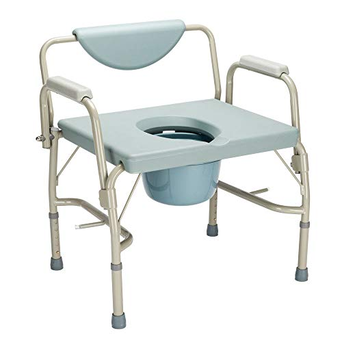 Extra Wide Height Adjustable Bedside Commode Seat Toilet Potty Chair Toilet Safety Frame Portable Versatile Multifunctional Elderly Disabled Handicapped People Hospital Medical Slip-Resistant Chair