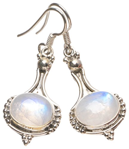 StarGems(tm) Natural Rainbow Moonstone Handmade Unique 925 Sterling Silver Earrings 1 1/2