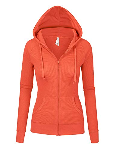 (Womens Orange Color Thermal Zip Up Casual Hoodie Jacket (8035_Orange_S))