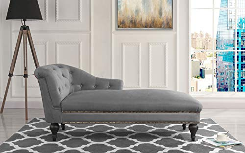 Chaise Lounge Indoor Chair Tufted Velvet Fabric, Modern Long Lounger for Office or Living Room (Grey) (Gray Chaise Lounge)