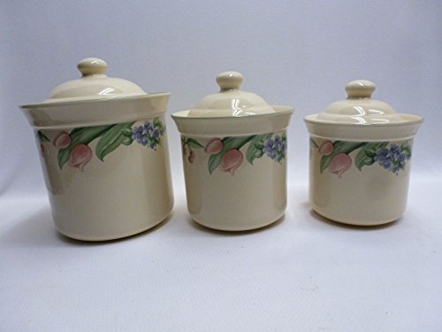 PFALTZGRAFF Garden Party (USA) Set/3 ~Canisters~Flour/Sugar/Tea ~Very Hard to Find ~Garden Impressions, Flowers/Cherry