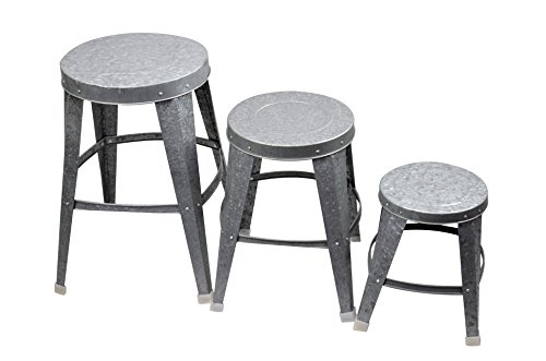 Red Carpet Studios 20015 Set of 3 Plant Stands Galvanized Metal Stool (Galvanized Garden Stool)