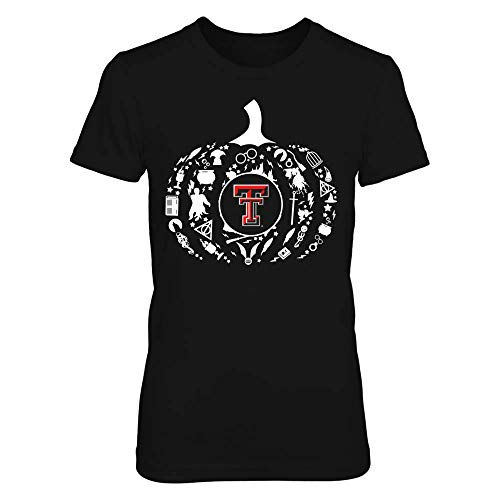FanPrint Official Sports Apparel Women's Basic Cotton T-Shirt Texas Tech Red Raiders Pumpkin of Hp Things, Size XL, Black]()