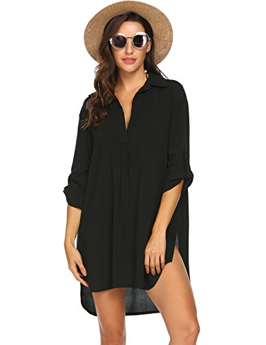 Ekouaer Womens Beach Bathing Suit Swim Bikini Swimsuit Cover Up Dresses Black