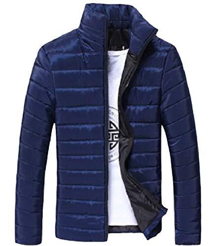 Cappotto Caldo Basamento Giù Lampo Mogogomen Lunga Del Chiusura Ispessito Navy Blu Collare Manica Solido nxBq1wRS