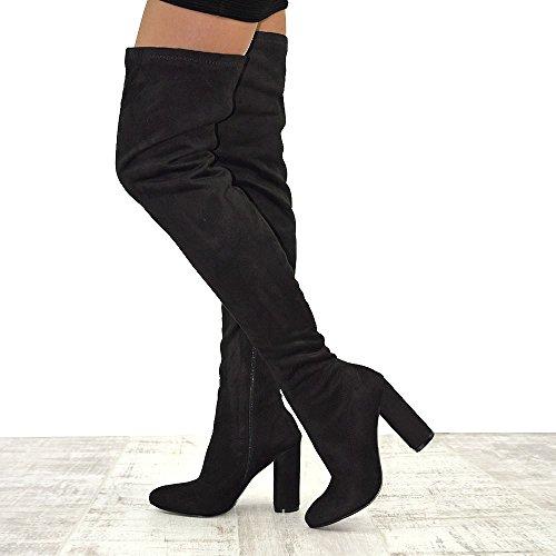 Essex Glam Women's Black Faux Suede Thigh High Round Heel Stretch Long Leg Boots 9 B(M) US