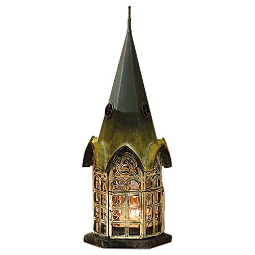 (Glass and Metal Architectural Candle Lantern - Green Patina Pickford House by Echo Valley)