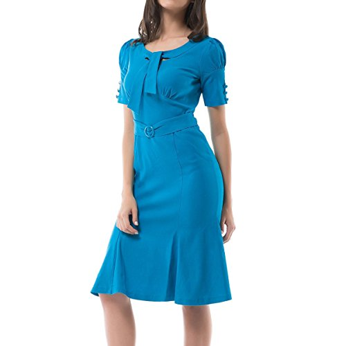 40s Rayon Dresses (Sue&Joe Women's Vintage Dress 1940s Short Sleeve High Waist Wiggle Cocktail Dress, Blue, Medium)