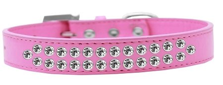 Mirage Pet Products Two Row Clear Crystal Bright Pink Dog Collar, Size 20 by Mirage Pet Products