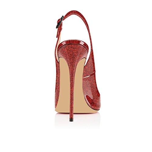 Rot Zehe Glitzern Schuhe Schnalle mit Sandalen Peep Öffnen EDEFS 120mm Stiletto Toe Slingback Damenschuhe Heels High f4Hqxpw