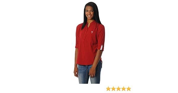 UG Apparel NCAA Oklahoma Sooners Womens Button Down Tunic Top Crimson//White Small