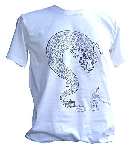 Raan Pah Muang Ultimate Console Battle - Knight vs Dragon Rocky T-Shirt, XX-Large, White