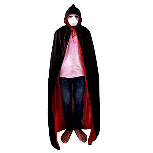 Pirates Customes (Custome Black Red Devil Pirate Vampire Demon Hooded Cloak Reversible Dress For Halloween Party (M))