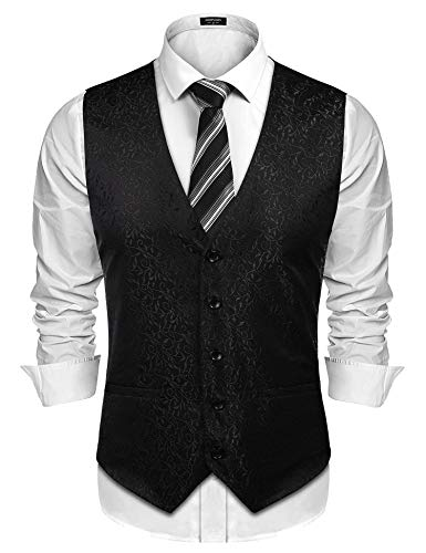COOFANDY Men's Floral Jacquard Waistcoat Classic Fashion Button Down Vest