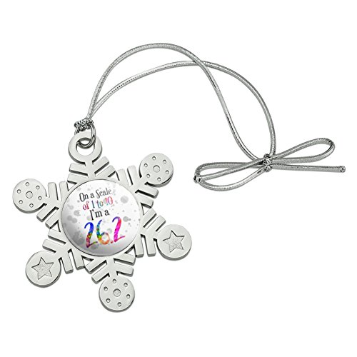 Graphics and More 26.2 Marathon Scale of 1 to 10 Rainbow Runner Metal Snowflake Christmas Tree Holiday Ornament