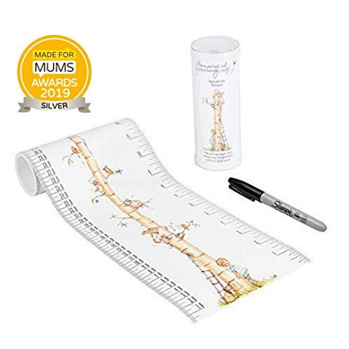 TALLTAPE - Portable, Roll-up Height Chart, Free Sharpie Marker Pen to Measure Children from Birth, Choice of 10 Designs, a Memento for Life - Tree of Life