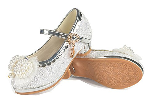 Princess Girls Formal Ankle Strap Shoes Sparkling Rhinestone Glitter Sandals(Silver,Size 1.5)