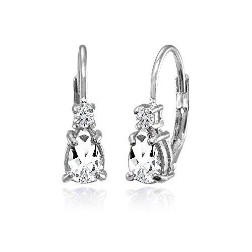 (Sterling Silver White Topaz Tiny Teardrop Huggie Leverback Earrings for Girls Kids)