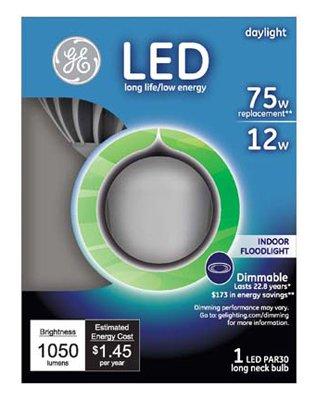G E Lighting 22233 GE LED 12 watt, PAR30 Long Neck, 5000 Kelvin