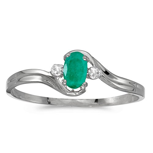 - 0.16 Carat (ctw) 14k White Gold Oval Green Emerald and Diamond Accent Bypass Swirl Fashion Promise Ring (5 x 3 MM) - Size 4