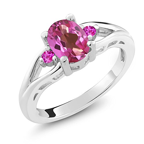 Gem Stone King 1.80 Ct 8x6mm Oval Pink Topaz and Pink Sapphire 925 Sterling Silver Ring (Size 6)