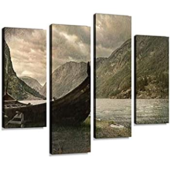 Old Viking Boat in Gudvangen Village Near Flam, Norway Canvas Wall Art Hanging Paintings Modern Artwork Abstract Picture Prints Home Decoration Gift Unique Designed Framed 4 Panel