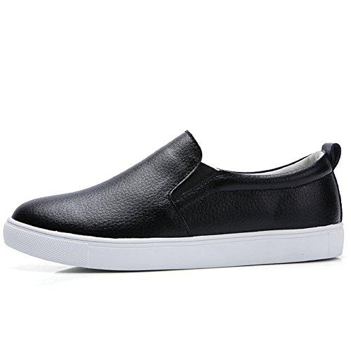 HKR Damen Slip On Fashion Sneakers Leopardenmuster Wildleder Loafers Komfort Wohnungen Schuhe Schwarz