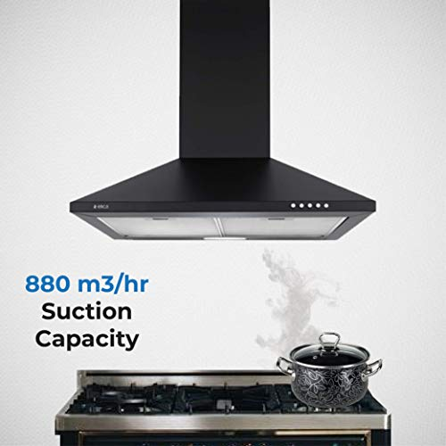 Elica-60-cm-880-m3hr-Chimney-Strip-CF-60-NERO-2-Cassette-Filters-Black
