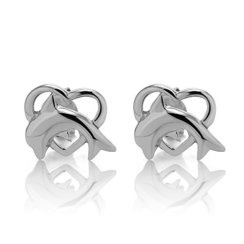 925 Sterling Silver Dolphin Heart Soul Mate 10 mm Post Stud Earrings (Silver Heart Sterling Dolphin)
