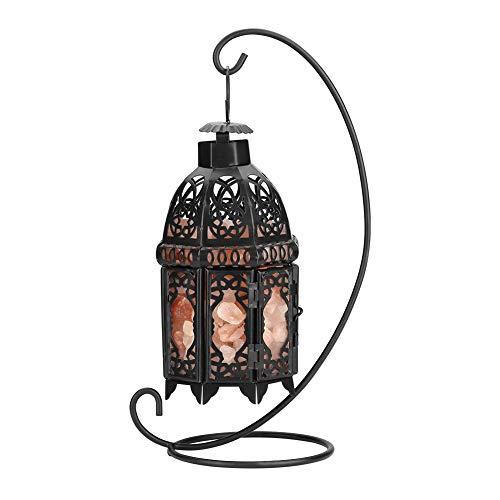 Vintage Iron Frame Natural Crystal Salt Rock Lamp Air Purifier Room Night Light Decor (Black)
