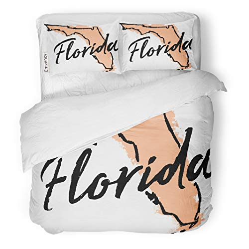 Semtomn Decor Duvet Cover Set Twin Size Blue America Hand Drawn Florida State Sketch American Border 3 Piece Brushed Microfiber Fabric Print Bedding Set Cover ()