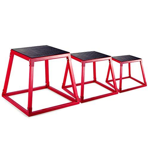 Popsport Plyometric Platform Box Set Fitness Exercise Jump Box Step Plyometric Box Jump for Exercise Fit Training (Set of 12'' 18'' 24'')