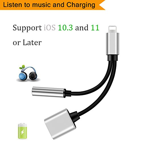 Adapter & Splitter for iPhone X,iPhone 8/8Plus,iPhone 7/7Plus, 2 in 1 Converter 3.5mm Lightning jack Headphone Audio Adaptor & Charge Adapter Accessories Support for iOS 10.3/11 and Later