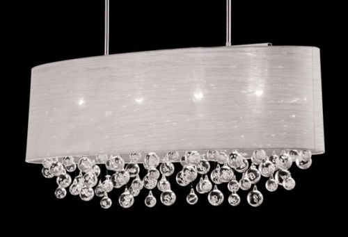 New 4 Lamp Chandelier Oval Drum Shade Teardrop Crystal Chandelier Dia 36""