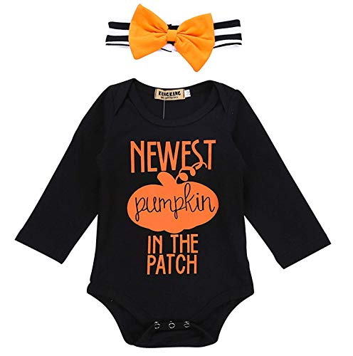 YOUNGER TREE Infant Baby Girl Boy Halloween Outfit Witches Please Print Long Sleeve Halloween Romper with Bowknot Headband (Black B, 6-12 Months)