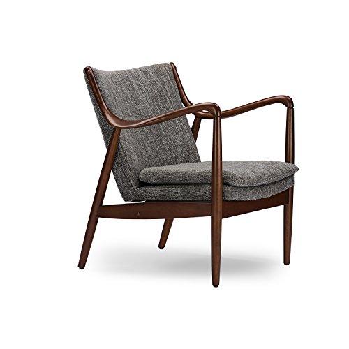 41H%2BhWVhtEL - Wholesale Interiors Baxton Studio Shakespeare Mid-Century Modern Retro Fabric Upholstered Leisure Accent Chair in Walnut Wood Frame, Large, Grey