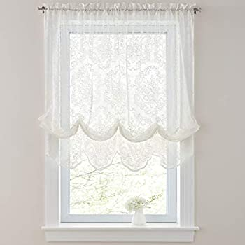 BrylaneHome Vintage Lace Balloon Shade, Ivory