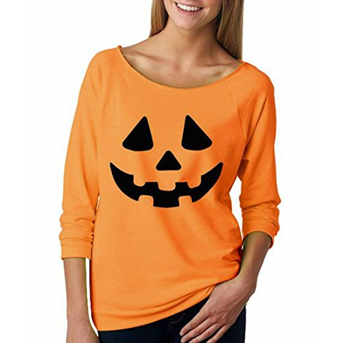[Laimeng, Womens Halloween Pumpkin Print Long Sleeve Sweatshirt Pullover Blouse (M, Orange)] (Womens Halloween Ideas)