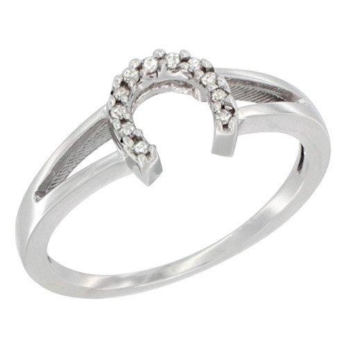 s Diamond Horseshoe Ring, 1/4 inch wide, sizes 10 (Silver Horseshoe Lady Ring)